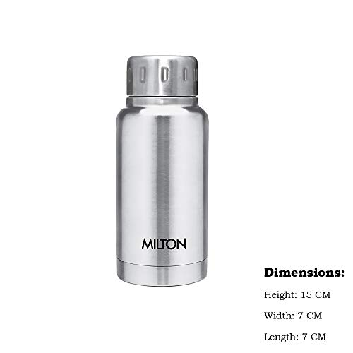 Milton Elfin 160 Thermosteel Hot and Cold Water Bottle, 160 ml, Silver