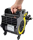 JEGS Portable 3-Speed Blower Fan   Black With JEGS logo   2 Built-In 15-Amp Grounded Outlets   8–Foot Power Cord   Up to 300 CFM Airflow   Made From Lightweight Durable ABS Plastic