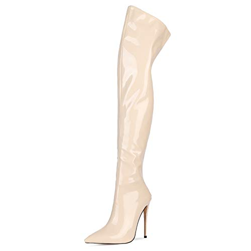 Lydee Damen Mode Overknee Stiefel Stiletto Hohe Stiefel Solid Color Back Zip Abend Party Schuhe Apricot Size 43