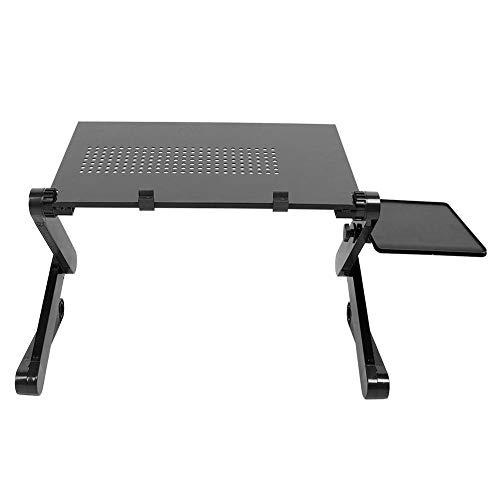 Escritorio de cama de estilo moderno, mesa de ordenador plegable, escritorio de ordenador portátil con disipación de calor con soporte para ratón para sofá, dormitorio, larga vida útil(negro)