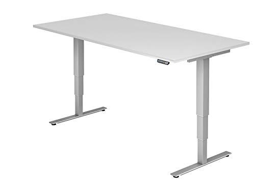 bümö® ergonomischer Schreibtisch elektrisch höhenverstellbar | elektrischer Bürotisch | höhenverstellbarer Büroschreibtisch mit Memoryfunktion in Rechteck: 200x100 cm Weiß
