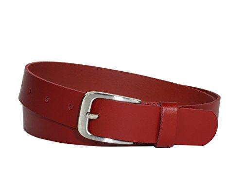 Vascavi Ledergürtel, 3 cm breit, Made in Germany, echt Leder Gürtel für Damen und Herren, kürzbar (120 cm Gesamtlänge 130 cm, Rot)
