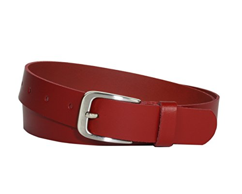 Vascavi Ledergürtel, 3 cm breit, Made in Germany, echt Leder Gürtel für Damen und Herren, kürzbar (100 cm Gesamtlänge 110 cm, Rot)