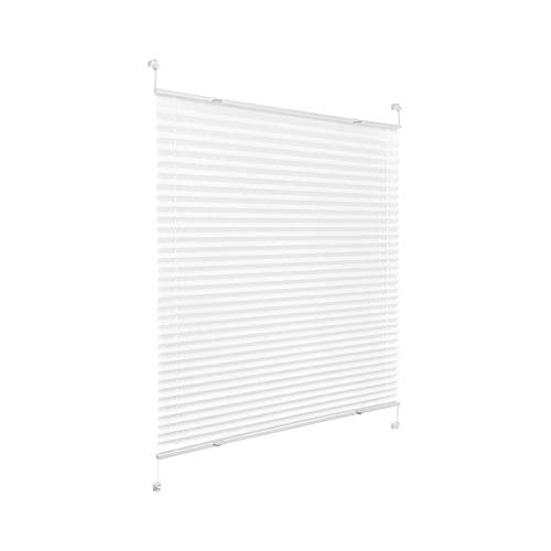 Victoria M. Praktica Plissee ohne Bohren Faltrollo Plisseerollo Rollo Blickdicht für Fenster & Tür, Polyesterstoff, 60 x 200 cm, Weiß