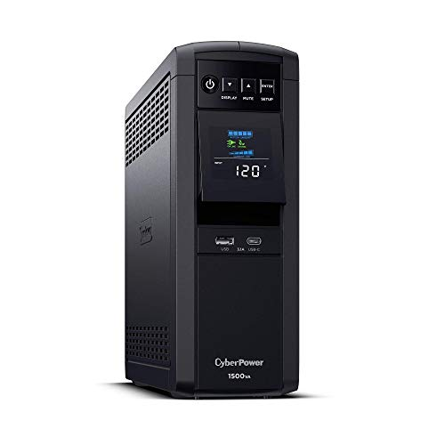 CyberPower CP1500PFCLCD PFC Sinewave UPS System, 1500VA/1000W, 12 Outlets, AVR, Mini Tower