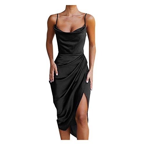 Zzbeans Sommerkleid Damen Sexy Kleider Damen Sommer Party Abendkleid Einfarbig Slim Kleid mit Schlitz Summer Schlinge Kleid Damen Elegant