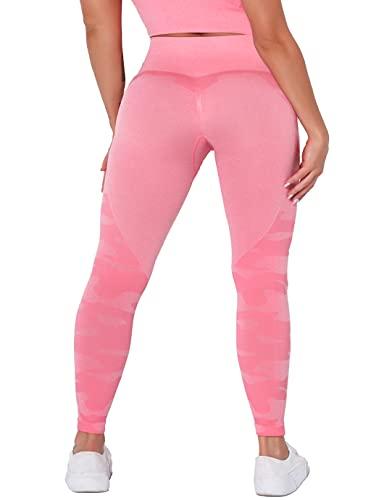 SHAPERIN Leggins Mayones Deportivos Mujer Cintura Alta Push Up Levanta Pompa para Yoga Running Fitness Pilate Rosa M