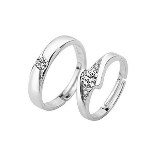 Kongqiabona-UK Zircon Couple Rings 1 Pair Wedding Promise Rings 30% Sterling Silver Jewelry