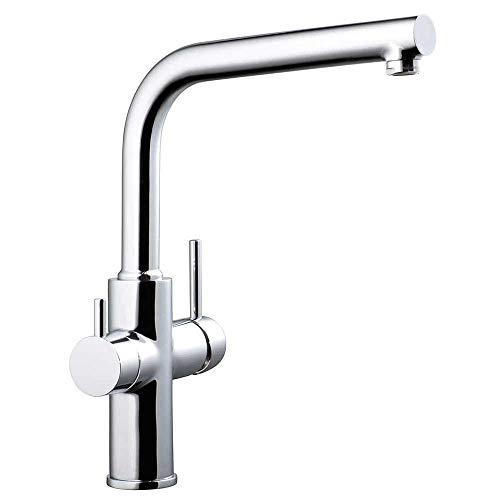 Clever 99684 Grifo de Cocina Monomando Agua Tratada Caiman Econature, Cromado