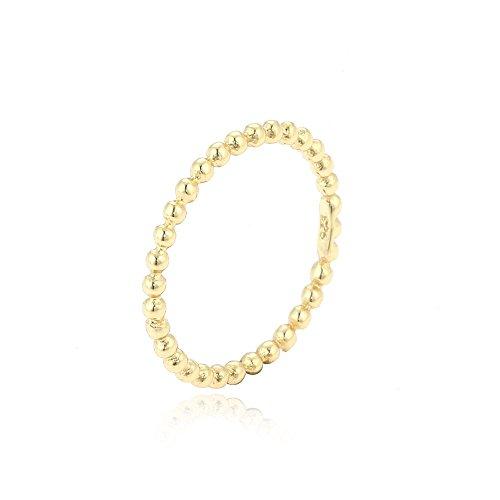 vergoldeter Ring Kugeln Silber 925 Metallfarbe Gelbgold, RingSize 48 (15.3)