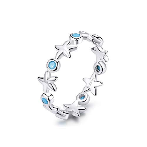 Fanona Eternity Rings Sterling Silver Ocean Blue Cubic Zirconia Wedding Promise Rings Gift for Women Girls