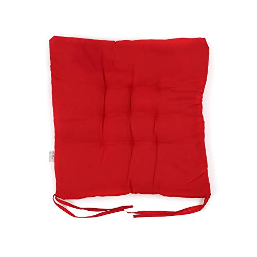 Xpork 4PCS Seat Pads for Dining Chair Square Cotton Booster Cushion Plain Strap for Garden Patio Kitchen Dining Red