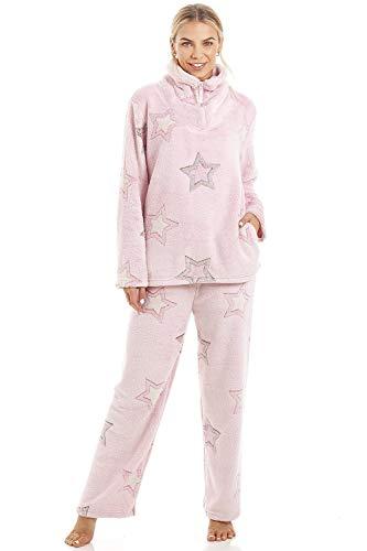 CAMILLE - Set di pigiami in Pile morbido a Maniche lunghe a Maniche lunghe per Donna 42-44 Pink Star Pyjama