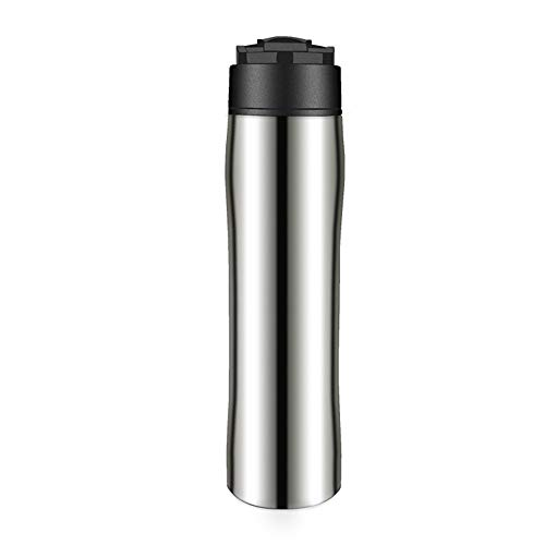 SongMyao Kaffeepressen 304 Edelstahl Französisch Press Pot Kaffeetasse Isolierung for Reisen Home Office Filterpressekanne (Color : Silver, Size : 350ml)