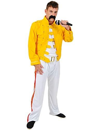 Disfraz de Estrella de Rock Msica de los aos 70 80 Amarillo para Hombres