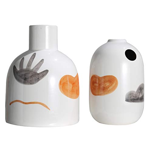 TERESA'S COLLECTIONS 2er Set Keramik Vasen 10/13cm Weiss Kleine Blumenvase Moderne Tischvase Blumen Pflanzen Vase Keramikvase Hausdeko Wohnzimmer Dekoration