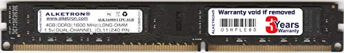 Alketron 4GB DDR3 RAM Memory | 1600MHz | CL11 | PC3-12800 | Long-DIMM (UDIMM) | for Standard Desktop and Gaming PC