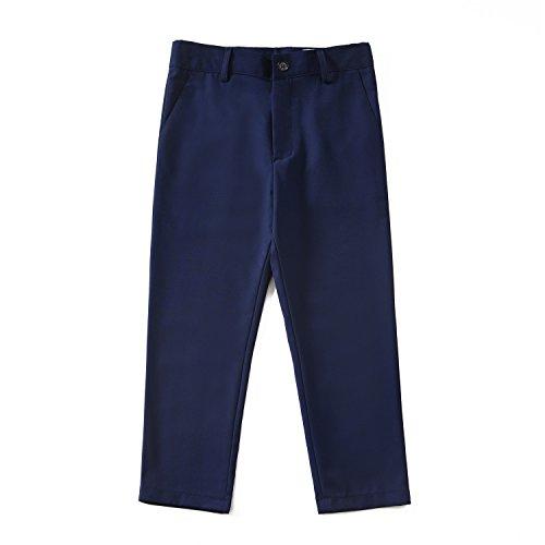 YuanLu Boys Dress Pants for Wedding Toddler Kids School Uniforms Pants with Adjustable Waist Blue Size 2T