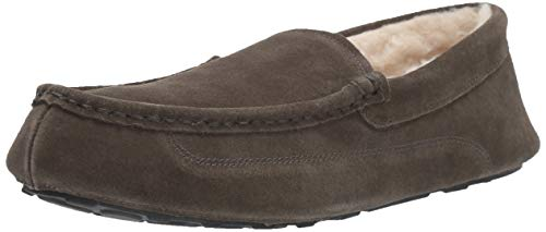 Amazon Essentials Men's Leather Moccasin Slipper, Charcoal, 13 M US