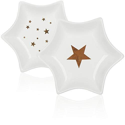 com-four® 2X Porzellanschale in Sternform - Dekoteller für Plätzchen und Snacks - dekorative Weihnachtsschale (02 Stück - Stern)