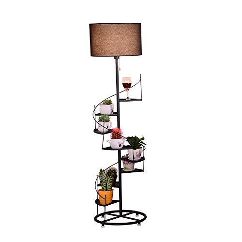 Skingk Escalera de caracol en forma de lámpara de pie multifunción de lectura lámpara de pie Estante de almacenamiento europea moderna de tela metálica Pantalla Lámpara de la sala de estar Decoración