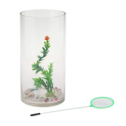 Tubayia Zylindrische Mini Fisch Tank Aquarium Fischglas für Wohnzimmer Dekoration Kinder Erwachsene Geschenk