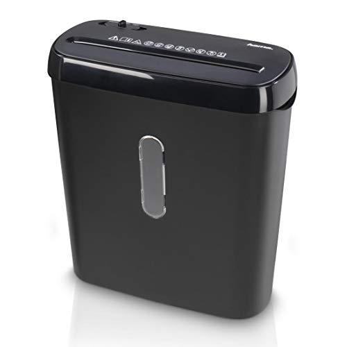 Hama Aktenvernichter fürs Home Office (Streifenschnitt 6 mm, bis zu 6 Blatt Papier, Strip-Cut-Schredder, 8 Liter Papierkorb, Start-/Stopp-Automatik, Sicherheitsstufe P2, Schutzklasse 1) schwarz