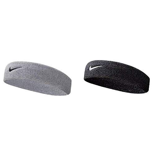 Nike UnisexErwachsene Swoosh Headband/Stirnband, Grau (Grey Heather/Black), Einheitsgröße & UnisexErwachsene Swoosh Headband/Stirnband, Schwarz (Black/White), Einheitsgröße