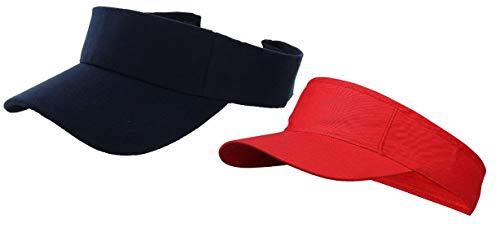 Zacharias Unisex Cotton Visors Tennis Cap Pack of 2 Blue & Red
