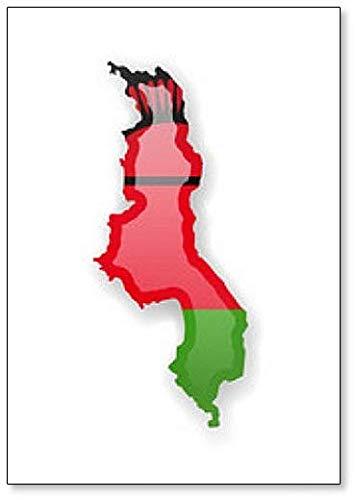 Kühlschrankmagnet Malawi Flagge & Umrisse des Landes, Magnet