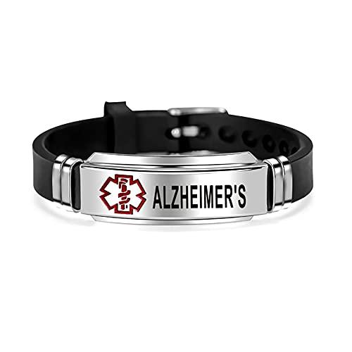 DWJSu Silicone Stylish Medical Alert ID Bracelets Adjustable Sport Emergency Waterproof Alzheimers Bracelets for Women Men