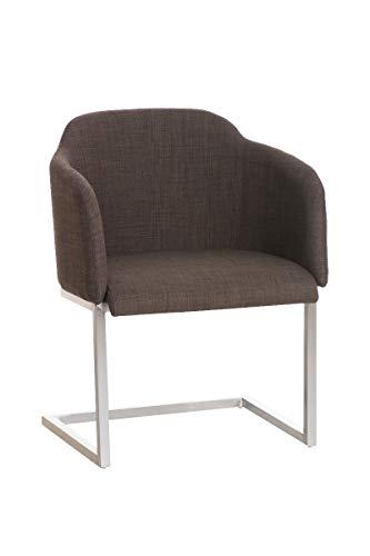 CLP Edelstahl Freischwinger-Stuhl Magnus mit Stoffbezug, Besucherstuhl mit Armlehne, Konferenzstuhl gepolstert, Farbe:braun