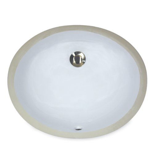 Nantucket Sinks UM-17x14-W-K 17-Inch by 14-Inch Oval Ceramic Undermount Vanity Sink, White