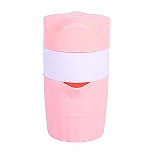 Juicer de cítricos manual portátil para pendientes de fruta de limón naranja Máquina de juicer potable al aire libre 300 ml de jugo de naranja taza (Color : Pink)