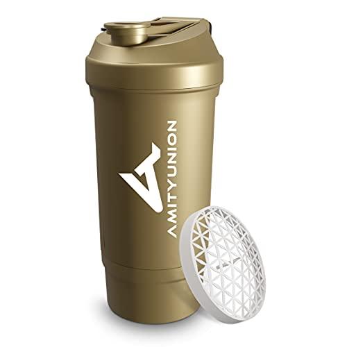 Protein Shaker Gold 700 ml FYRA auslaufsicher – Goldener Shaker - BPA frei mit Pulverfach & Sieb und Skala für cremige BCAA Shakes, Shaker proteinshake Becher, Eiweiß Shaker für Isolate & Whey Protein