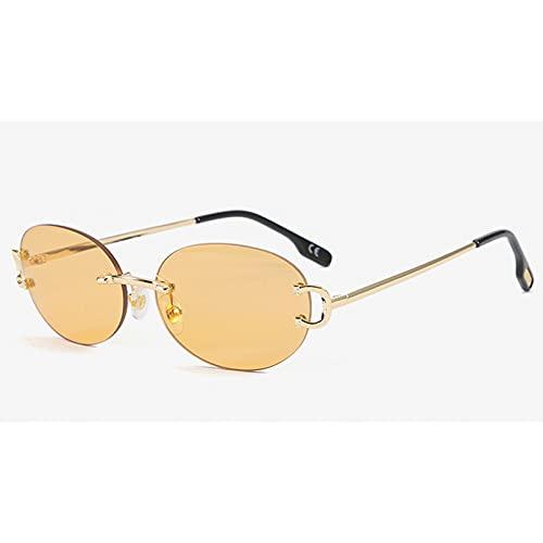 Tanxianlu Gafas de Sol ovaladas Doradas sin Montura para Hombre, Gafas de Sol Redondas Vintage de Moda de Metal para Mujer, Azul Uv400, sin Marco, Gran Oferta,S