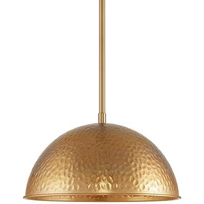 "Kira Home Wren 12"" Industrial Pendant Light + Hammered Dome Shade, Vintage Farmhouse Metal Hanging Light Fixture, Warm Brass Finish"