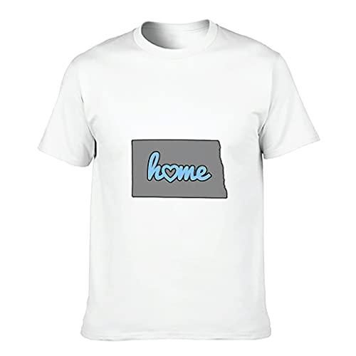 YCNJJB Camiseta de algodón para hombre, diseño de mapa de Dakota del Norte, divertida, ligera, manga corta