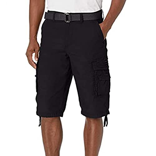 VEKDONE Men's Cargo Shorts Classic Fit Flat Front Stretchy Solid Twill Chino Tactical Big and Tall Bermuda Short Pants Black
