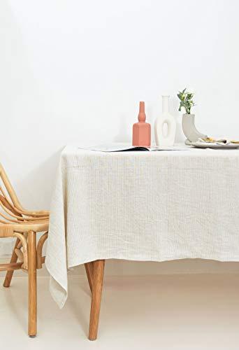 Hera Linen: Mantel de Lino 235x280cm en Rayas Avena. Lino Lavado Premium 100% Europeo. Hecho en España.