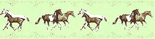 A.S. Création Bordüre Little Stars Borte mit Pferden 5,00 m x 0,13 m bunt grün Made in Germany 358381 35838-1