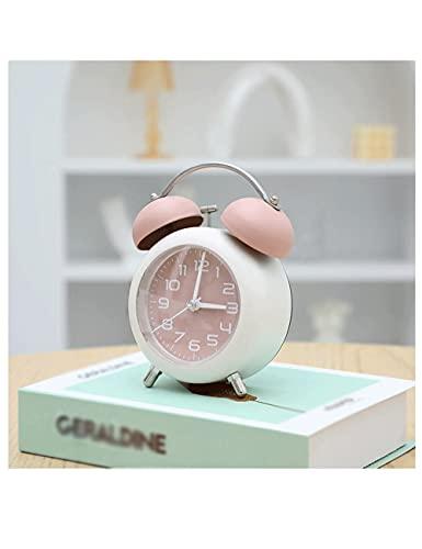 Lhl Reloj Despertador para niños, Campana de Metal Lindo, Reloj de Alarma de Gran Volumen portátil con luz de Noche, para Dormitorio, Estudio para niños Adultos (Color : Pink)