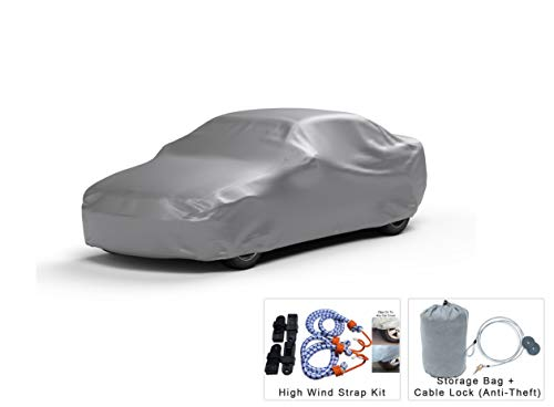 Platinum Shield Weatherproof Car Cover Compatible with 2002 Ferrari 575 M Maranello Coupe 2 Door - Protect Water, Snow, Sun - Fleece Lining - Free Cable Lock, Storage Bag & Wind Straps