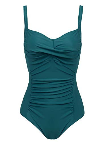 Cherrydew Womens Ruched One Piece Swimsuit Tummy Control Slimming Bathing Suit Retro Swimwear(Green,Medium)