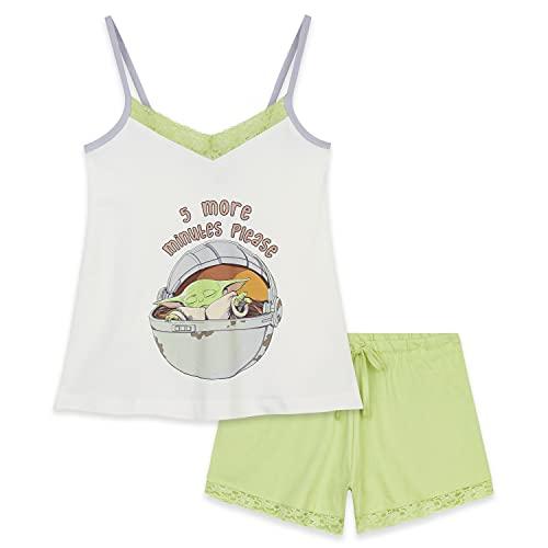 Disney Pijama Verano Mujer de Baby Yoda, Pijama con Camiseta Tirantes Mujer Star Wars, Pijama de Algodón para Mujeres y Adolescentes S - XL (Blanco/Verde, M)