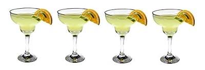 Epure Milano Collection Glass Drinkware Set (Margarita Glass (12 oz) - 4 Piece)