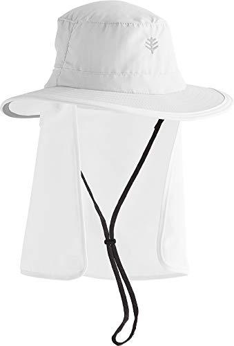 Coolibar UPF 50+ Unisex Convertible Boating Hat - Sun Protective (Large/X-Large- White)