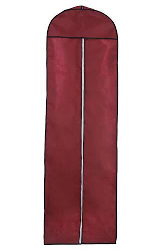 HIMRY Atmungsaktiver Kleidersack 180cm lang, Langer Reissverschluss, Schutzhülle für Brautkleider/Abendkleider/Anzüge/Mäntel, Dunkelrot, KXB1005 DarkRed