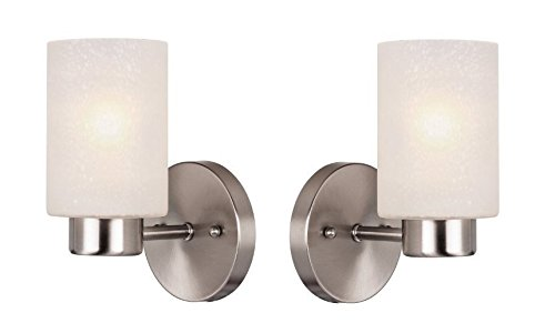 Westinghouse 6227800 Sylvestre One-Light Interior Wall Fixture, Brushed Nickel Finish with Frosted Seeded Glass - Pack Of 2