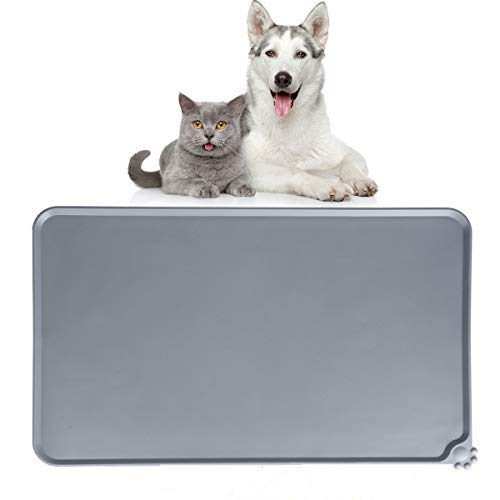 Dono Pet Food Mat - Dog & Cat Bowl Water Feeding Placemat Collapsible No Mess Waterproof Feeding Tray with FDA Grade Silicone Non Slip,Superior Hygiene, Non-toxic Food Pad Grey